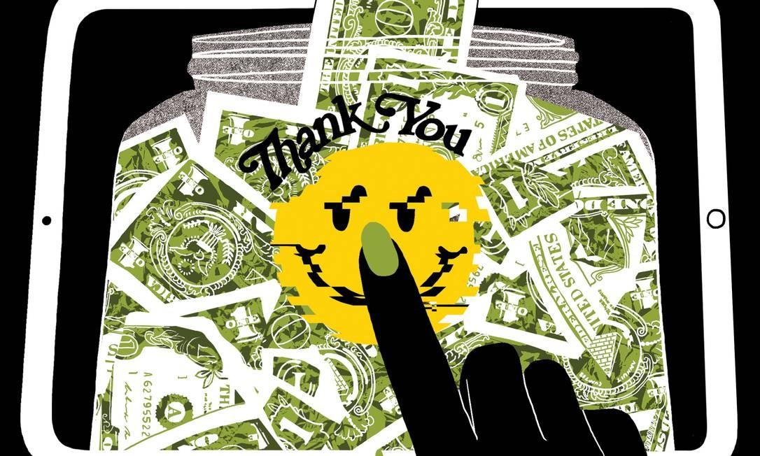 É preciso dar gorjeta em pagamento eletrônico por serviços de balcão? Foto: Arte de Alex Citrin / The New York Times