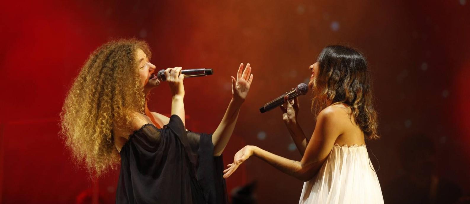 O duo Anavitória durante apresentação no Palco Sunset do Rock in Rio 2019 Foto: Brenno Carvalho / Brenno Carvalho