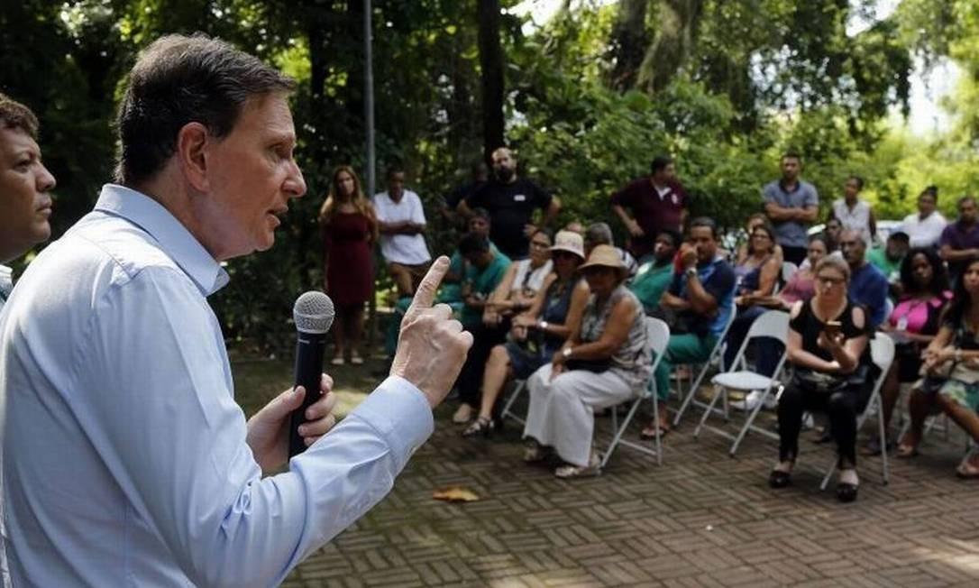 Discurso: prefeito Marcelo Crivella em uma de suas agendas públicas Foto: Divulgação/ Prefeitura