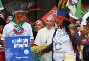 O Sínodo da Amazônia, no Vaticano, será um dos locais visitados pela delegação de indígenas Foto: Andreas Solario/AFP / AFP
