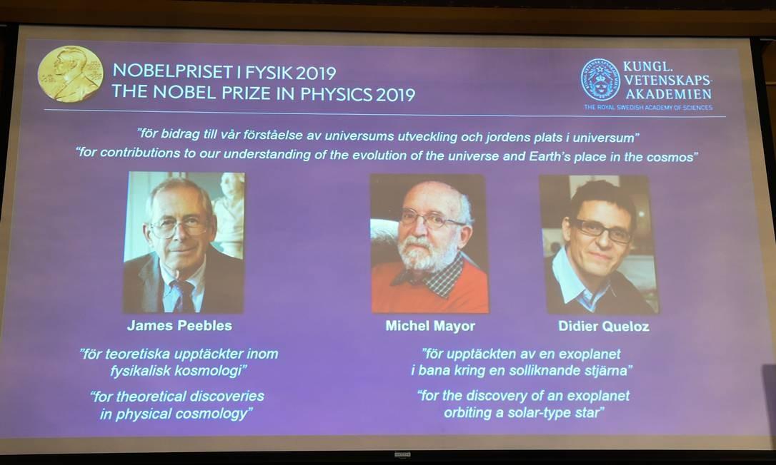 Premiados pelo Nobel de Física de 2019 são revelados em coletiva de imprensa em Estocolmo, na Suécia Foto: JONATHAN NACKSTRAND