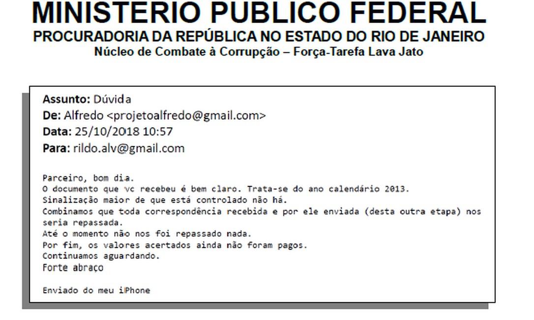 Mensagem enviada do modem cadastrado em nome do analista tributário Marcial Pereira de Souza, preso na Lava-Jato Foto: Reprodução