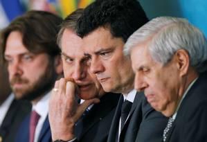 Jair Bolsonaro e Sergio Moro em solenidade de lançamento da Campanha do Projeto Anticrime Foto: Adriano Machado / REUTERS