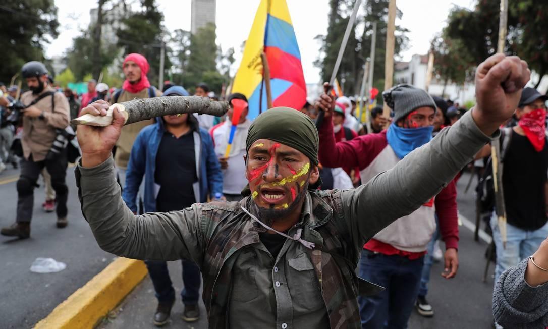 Nesta terça-feira, manifestantes voltaram às ruas para protestar contra as medidas de austeridade do presidente e os aumentos de até 123% nos preços dos combustíveis Foto: IVAN ALVARADO / REUTERS