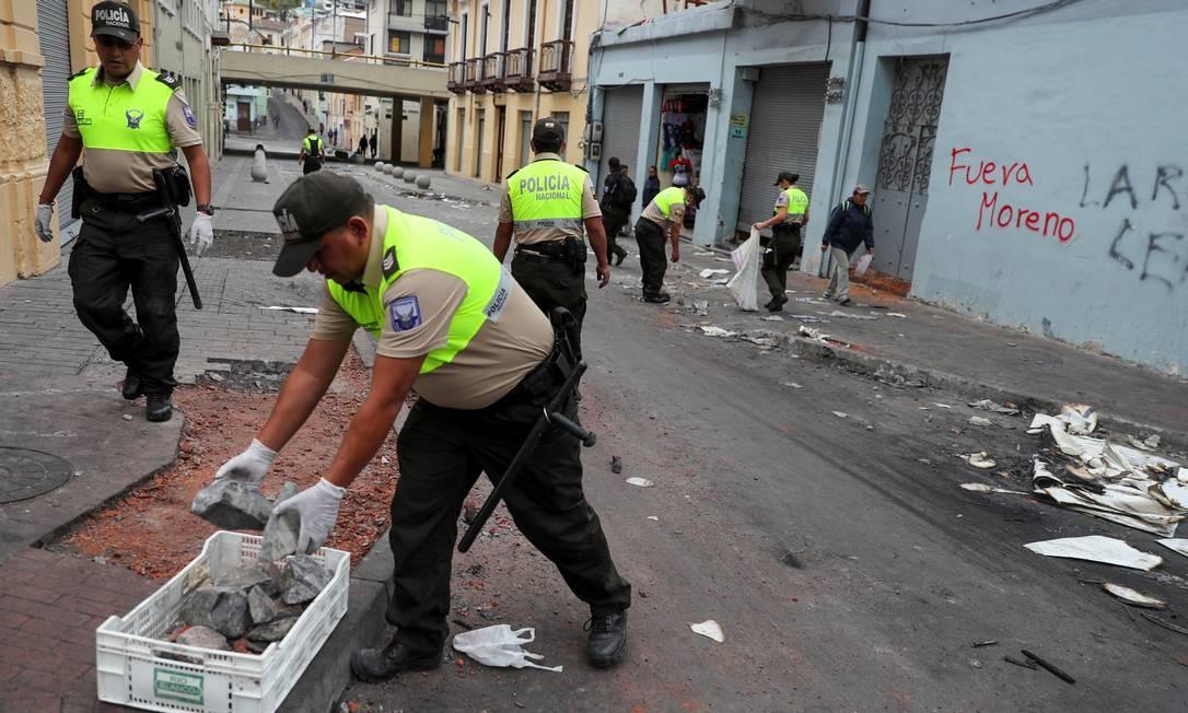 Em seu pronunciamento, Moreno acusou seu antecessor e antigo aliado Rafael Correa, e o presidente venezuelano, Nicolás Maduro, de quererem desestabilizar seu governo Foto: Ivan Alvarado / REUTERS