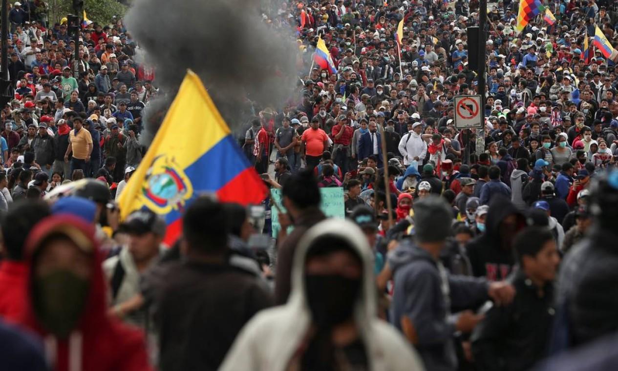 Para Jaime Vargas, presidente da Conaie, trata-se de uma luta conjunta com os setores sociais em defesa dos grandes interesses do povo equatoriano Foto: IVAN ALVARADO / REUTERS