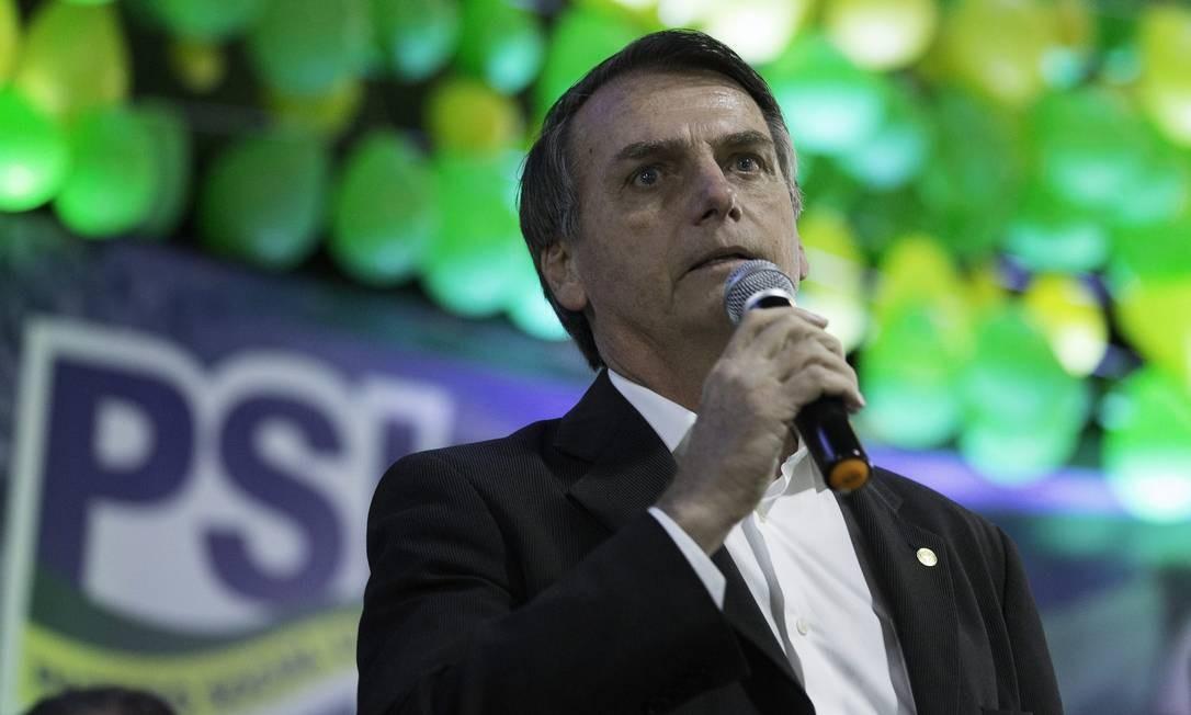 O presidente Jair Bolsonaro durante convenção do PSL em SP Foto: Terceiro / Agência O Globo - 05/08/2018