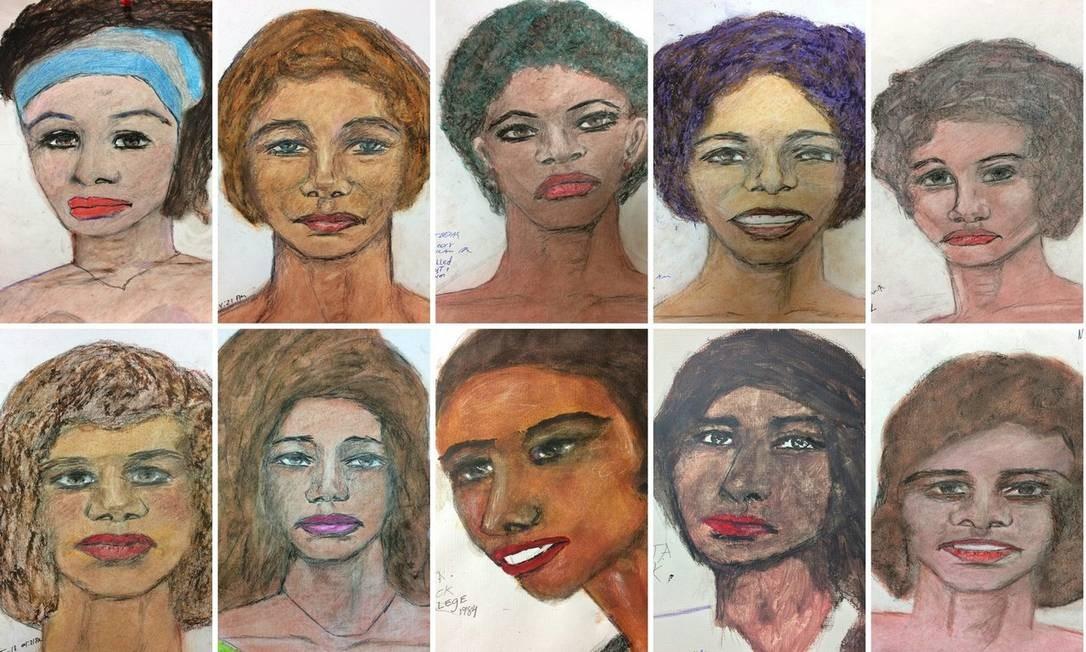 Desenhos feitos por Samuel Little de suas vítimas