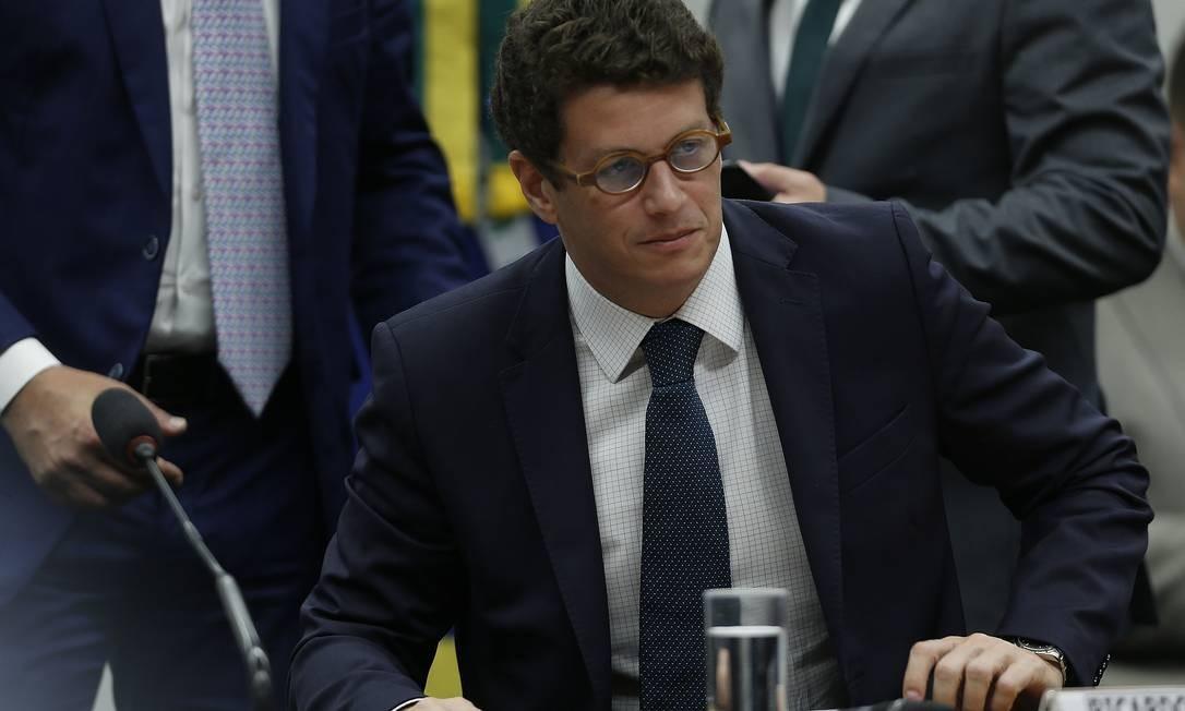 Ricardo Salles, ministro do Meio Ambiente fala sobre desmatamento da Amazônia na comissão de meio ambiente Foto: Jorge William / Agência O Globo