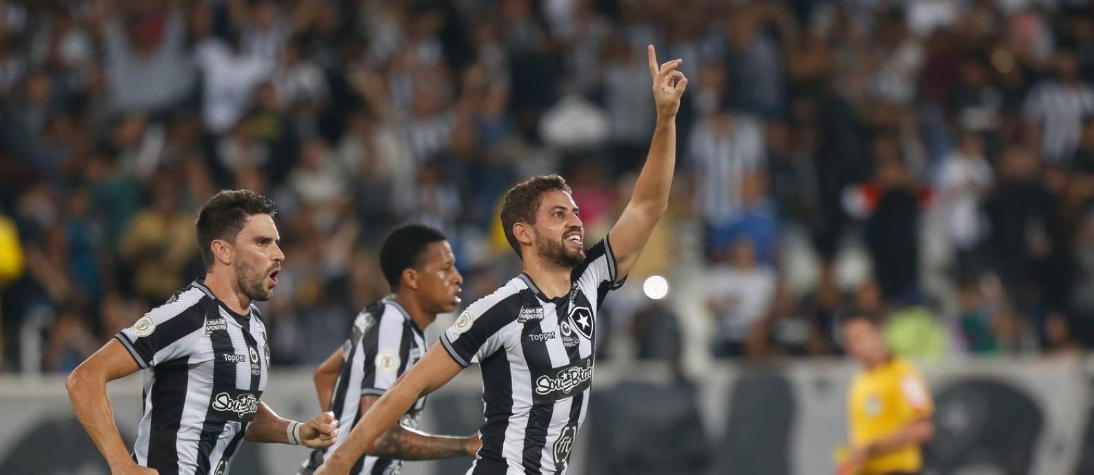 Gabriel celebra o primeiro gol do Botafogo sobre o Goiás Foto: Marcelo Regua