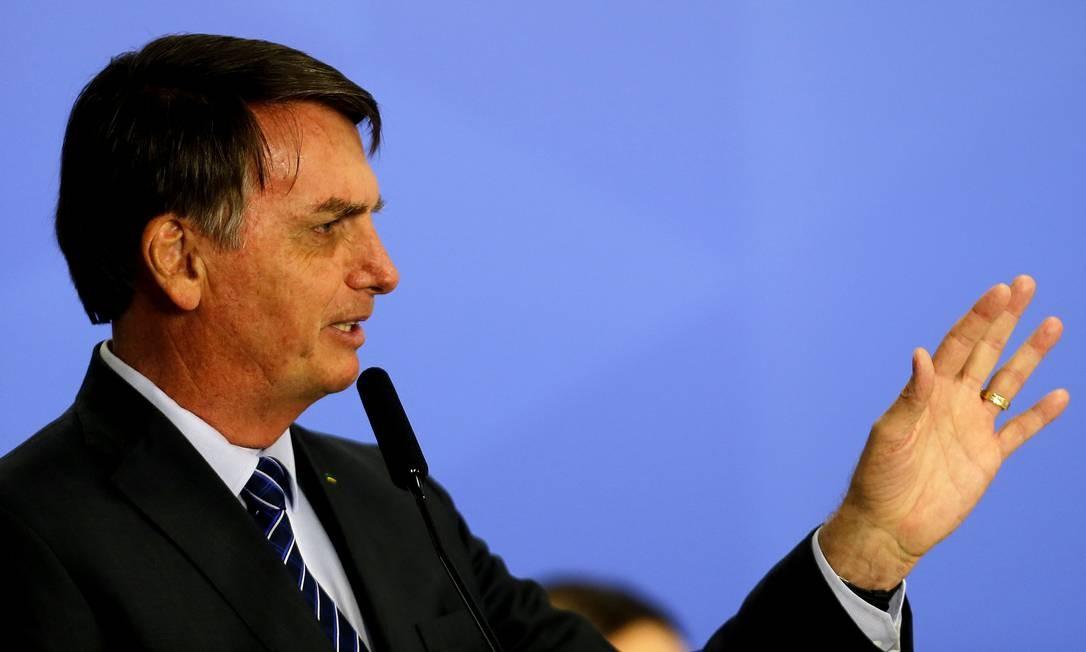 O presidente Jair Bolsonaro, durante cerimônia no Palácio do Planalto Foto: Jorge William/Agência O Globo/08-10-2019