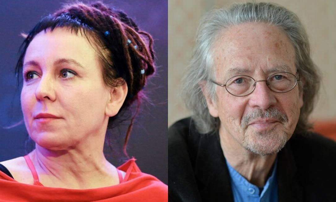 A polonesa Olga Tokarczuk, a premiada de 2018, e o austríaco Peter Handke, vencedor de 2019 Foto: Fotos Reuters/AFP