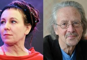 A polonesa Olga Tokarczuk, a premiada de 2018, e o austríaco Peter Handke, vencedor de 2019 Foto: Reuters e AFP