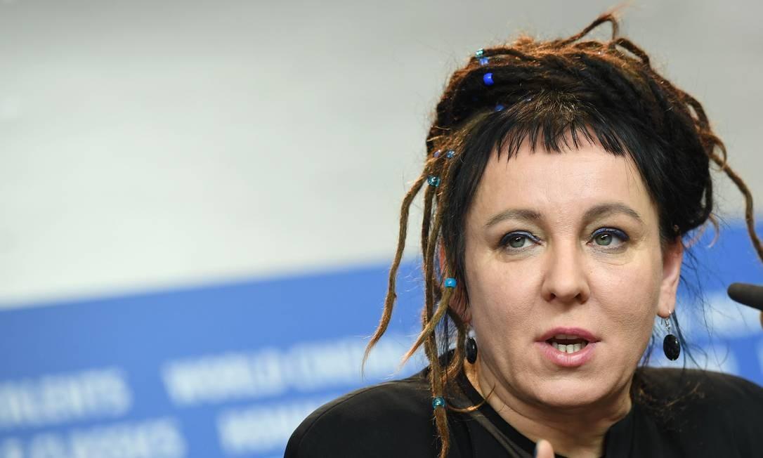 A escritora Olga Tokarczuk em 2017 Foto: BRITTA PEDERSEN / AFP