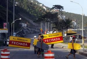 Avenida Niemeyer está interditada por decisão da Justiça desde o dia 28 de maio. Foto: 28/05/2019. Foto: Agência O Globo