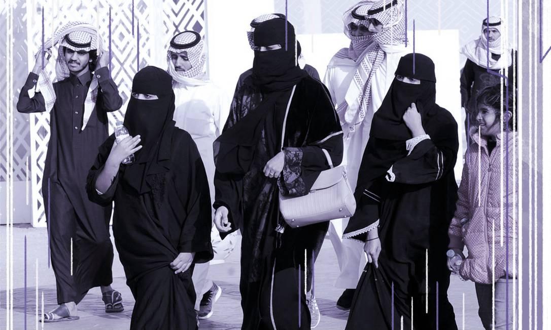 Mulheres sauditas participam do Festival do Rei Abdulaziz Camel em Rumah, em janeiro de 2018 Foto: FAYEZ NURELDINE