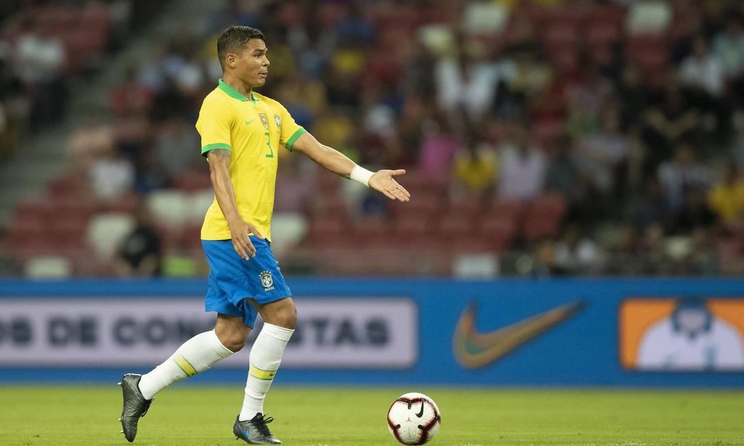 Thiago Silva culpou a falta de capricho no último passe para empate do Brasil Foto: Lucas Figueiredo/CBF