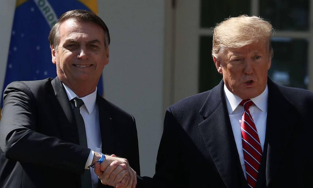 Os presidentes do EUA, Donald Trump, e do Brasil, Jair Bolsonaro Foto: Mark Wilson / Getty Images