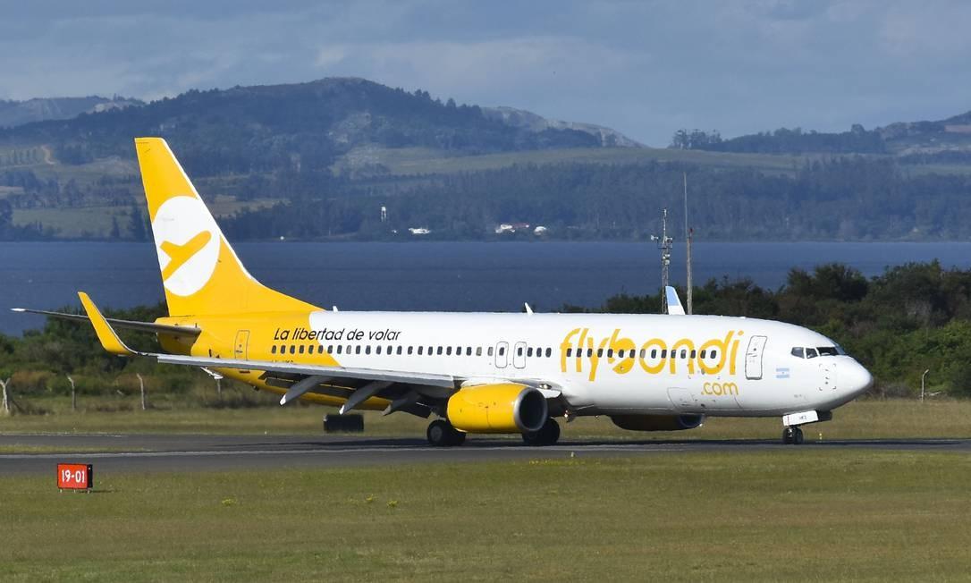 Avião modelo Boeing 737-800 NG da 'low cost' argentina Flybondi Foto: Divulgação