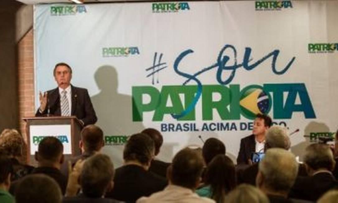 Jair Bolsonaro quase se filiou ao Patriota no passado Foto: Divulgação/Patriota