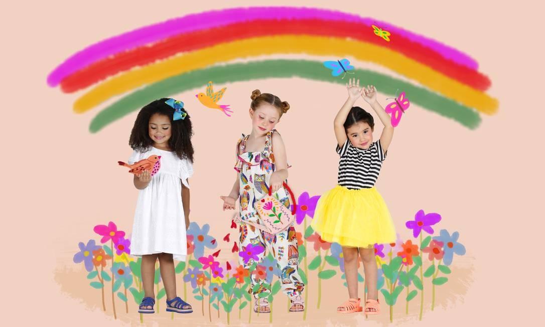 Nicolle (à esquerda) usa vestido, R$ 150, Jujulie (96779-4501); e sandálias,R$ 79,90, Melissa (melissa.com.br). Duda veste macacão, R$ 169, Antoninha (96998-5757); e sandálias, R$ 99,90, Melissa. Priscila (à direita) usa saia, R$ 100, Banho Mar (99911-7655); blusa, R$ 168, Eva Mini (useeva.com); e sandálias, R$ 99,90, Melissa Foto: Fabio Rossi