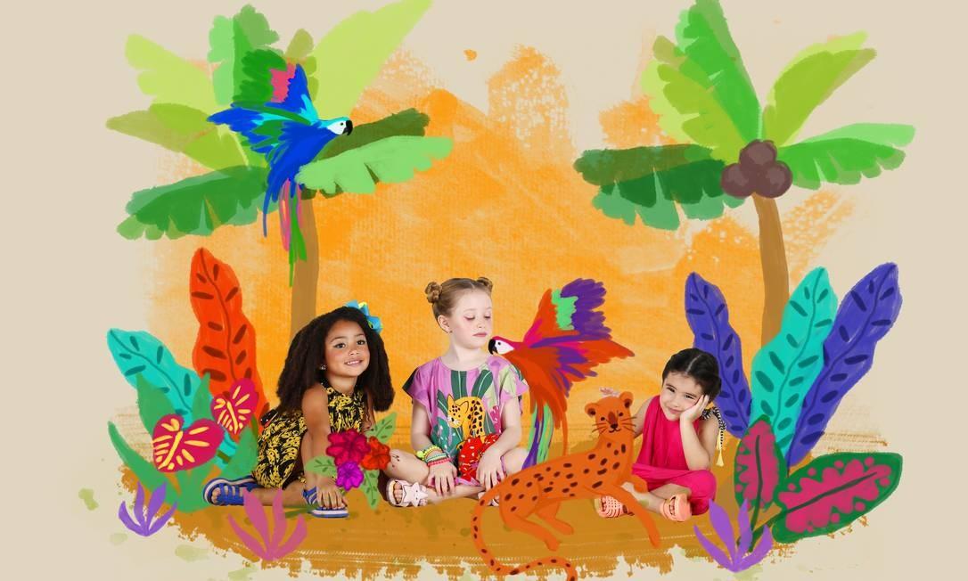 Nicolle (à esquerda) veste macacão, R$ 179, Fábula; sandálias, R$ 79,90, Melissa; e laço, R$ 49, Buclê Buclê (98563-3072). Duda usa bata e short, R$ 179,90, Das Meninas (99903-4975); sandálias, R$ 99,90, Melissa; e pulseiras, R$ 39, Buclê Buclê. À direita, Priscila usa macacão, R$ 98, Peticolé (98119-5224); e sandálias, R$ 99,90, Melissa Foto: Fabio Rossi
