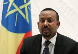 Primeiro-ministro da Etiópia, Abiy Ahmed, durante entre entrevista coletiva Foto: TIKSA NEGERI / REUTERS / 01-09-2019