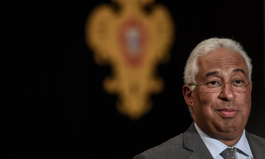 O premier António Costa durante entrevista coletiva: fim da Geringonça Foto: PATRICIA DE MELO MOREIRA / AFP