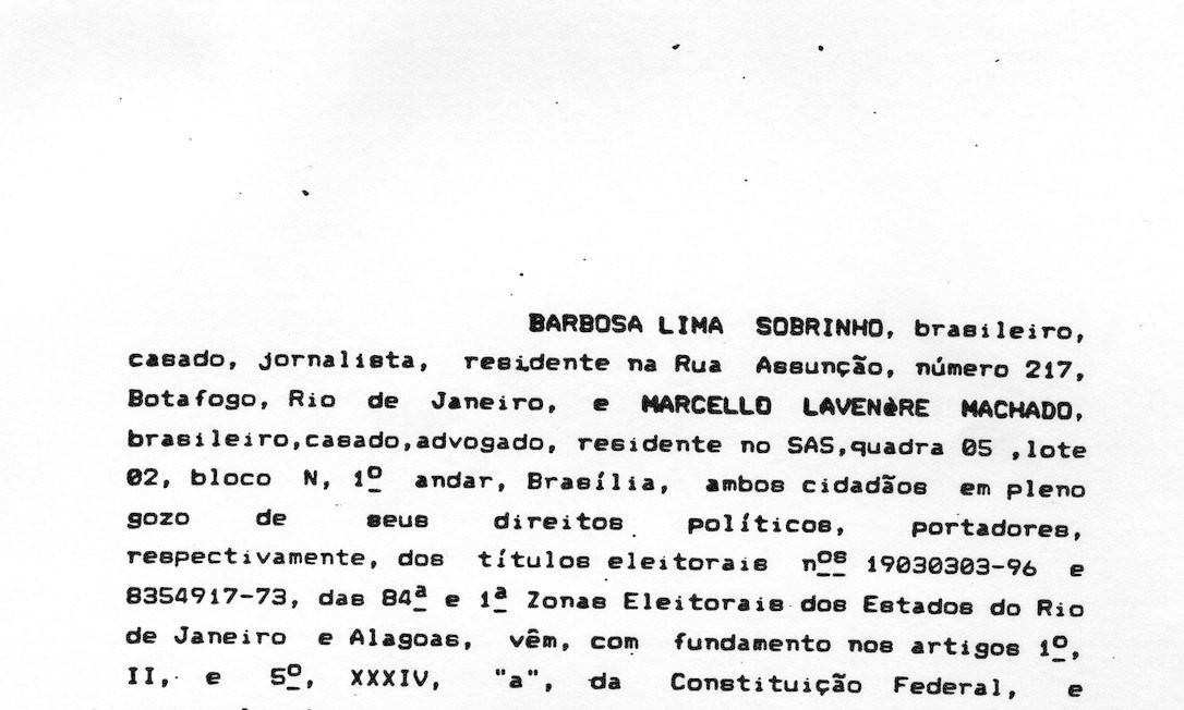 Pedido impeachment do então presidente Fernando Collor de Mello por crime de responsabilidade Foto: Reprodução