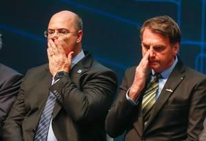 O presidente Jair Bolsonaro e o governador do Rio, Wilson Witzel, na cerimônia de conclusão da etapa finalde construção do submarino Humaitá (SBR-2), no Complexo Naval de Itaguaí, no Rio Foto: Marcelo Regua / Agência O Globo