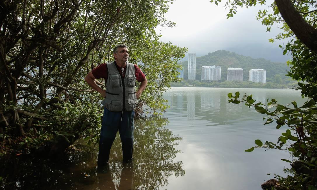 Pai do manguezal. O biólogo Mário Moscatelli diz que o projeto mostra que é possível fazer as pazes com o meio ambiente Foto: Brenno Carvalho / Agência O Globo