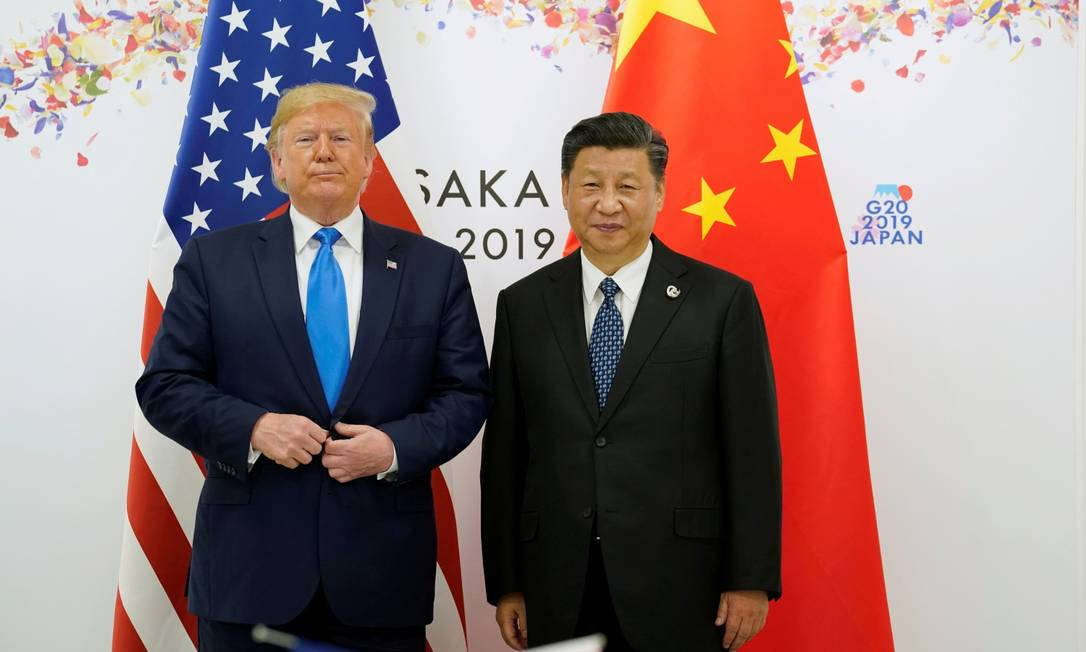 Donald Trump, presidente dos EUA, e Xi Jinping, presidente da China Foto: Kevin Lamarque / Reuters