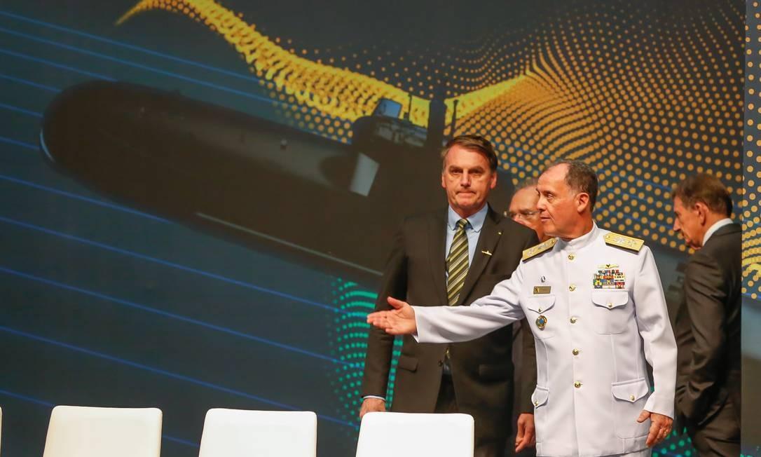 Bolsonaro participa da cerimônia de conclusão da etapa finalde construção do submarino Humaitá (SBR-2), no Complexo Naval de Itaguaí, no Rio Foto: Marcelo Regua / Agência O Globo