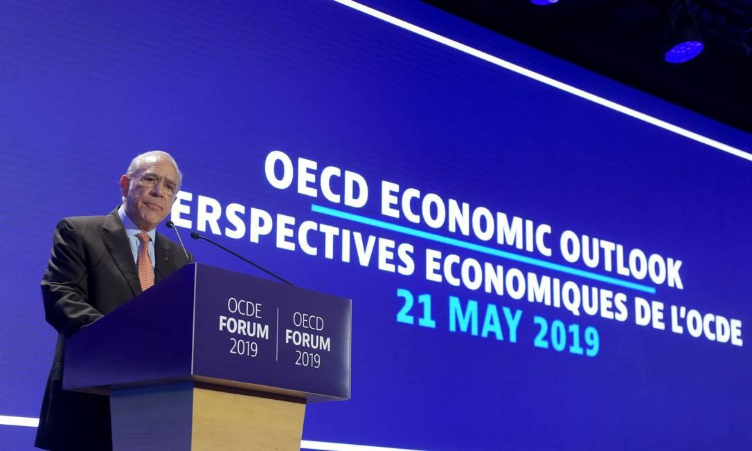 José Ángel Gurría, secretário-geral da OCDE, durante evento em Paris, em maio. Em reunião, ele sugeriu que processo de adesão do Brasil só ocorresse em 2020, após Argentina e Romênia Foto: ERIC PIERMONT / AFP