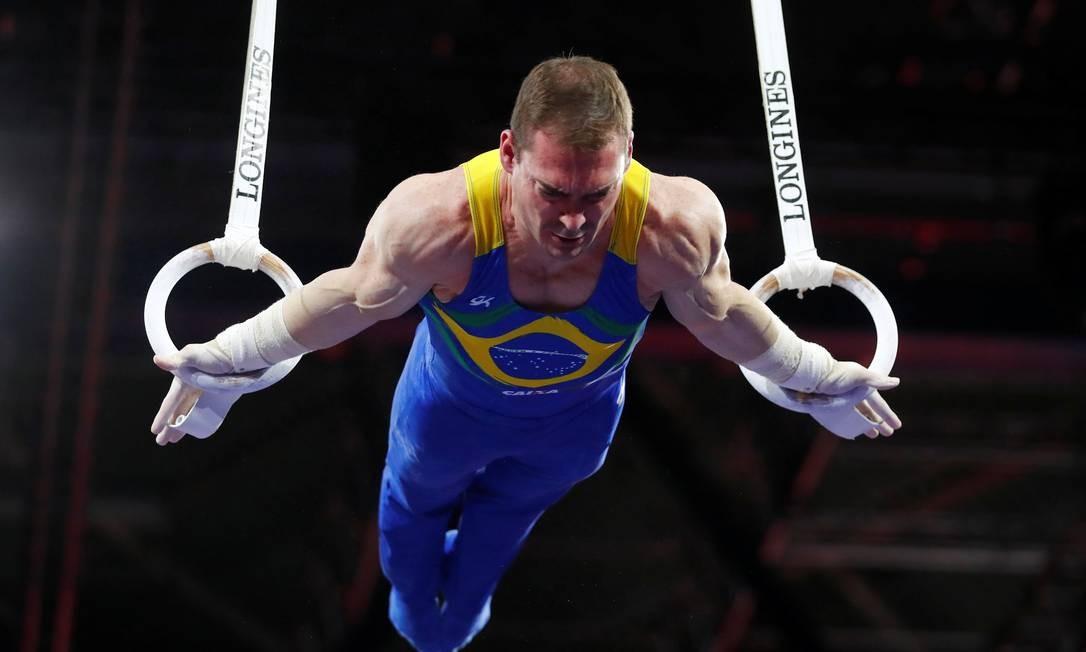 O brasileiro Arthur Zanetti se apresenta durante a final das argolas do Mundial de ginástica artística Foto: WOLFGANG RATTAY / REUTERS