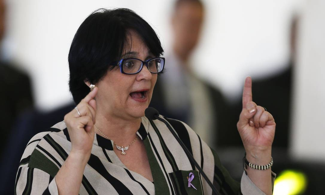 A ministra da ministra da Mulher, da Família e dos Direitos, Damares Alves, em evento em Brasília Foto: Jorge William / 16-08-2019