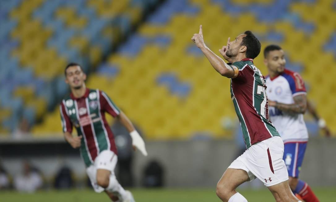 Nenê comemora o primeiro gol do Fluminense contra o Bahia Foto: Antonio Scorza / Antonio Scorza