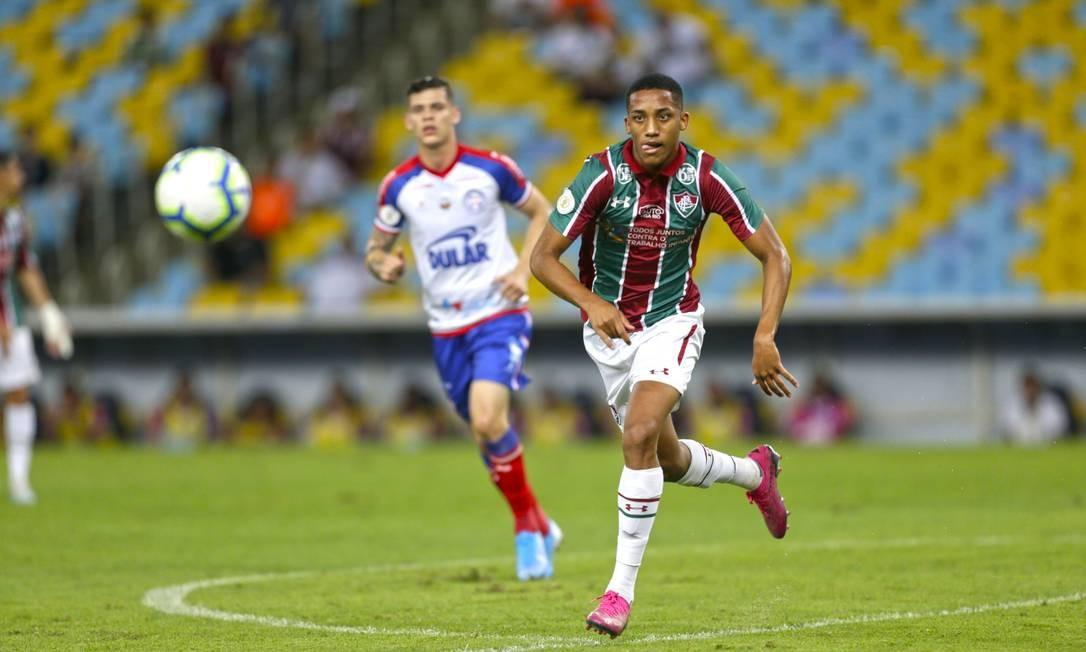 João Pedro na partida entre Fluminense e Bahia, no Maracanã Foto: Antonio Scorza / Antonio Scorza