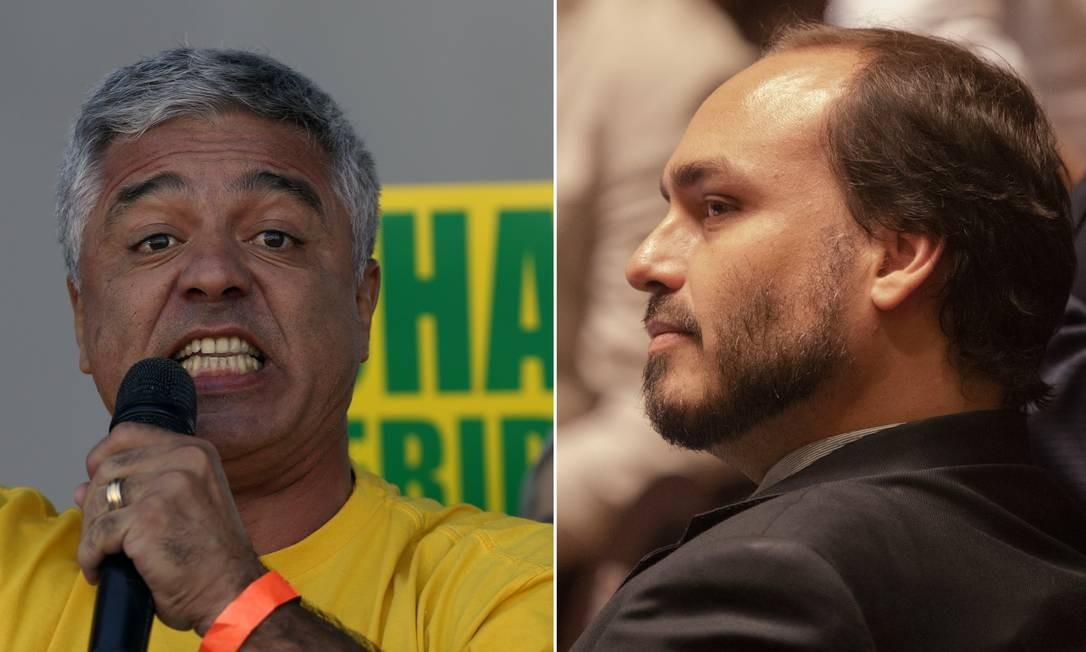 Major Olimpio (PSL-SP) e Carlos Bolsonaro (PSC-RJ) trocaram ofensas no Twitter Foto: Fotos de Edilson Dantas e Gabriel Monteiro/Agência O Globo