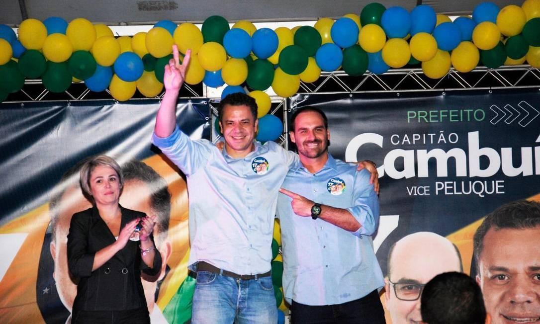 Eduardo Bolsonaro em evento de campanha de Capitão Cambuí: candidato do PSL em Paulínia (SP) amargou o quinto lugar em eleição e prefeito Foto: Reprodução/Facebook