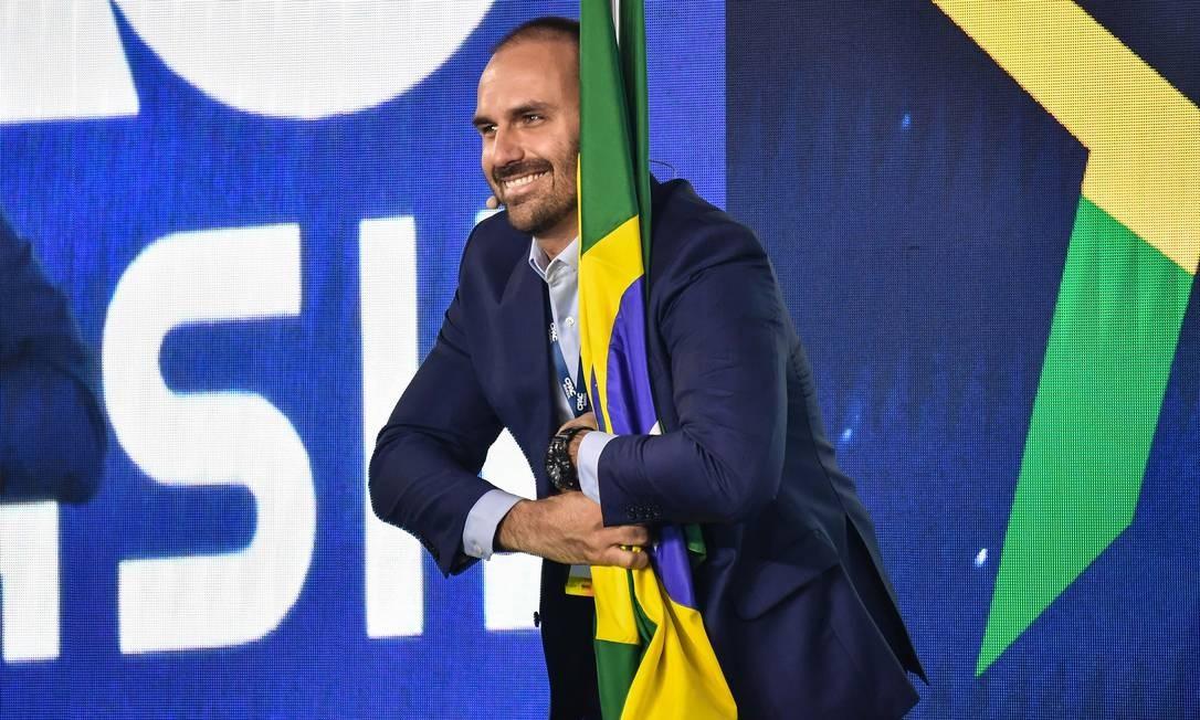 Eduardo Bolsonaro na conferência CPAC Foto: NELSON ALMEIDA / AFP