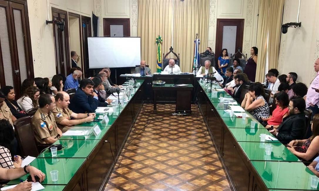 Audiência Pública realizada nesta segunda-feira na Alerj sobre riscos em equipamentos culturais do estado levantados em relatório da CGE-RJ Foto: Rafael Wallace