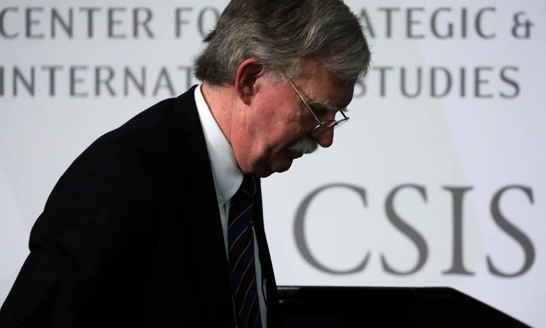 Ex-assessor de Segurança Nacional John Bolton após evento do Centro de Estudos Estratégicos e Internacionais, em Washington Foto: JONATHAN ERNST / REUTERS / 30-09-2019