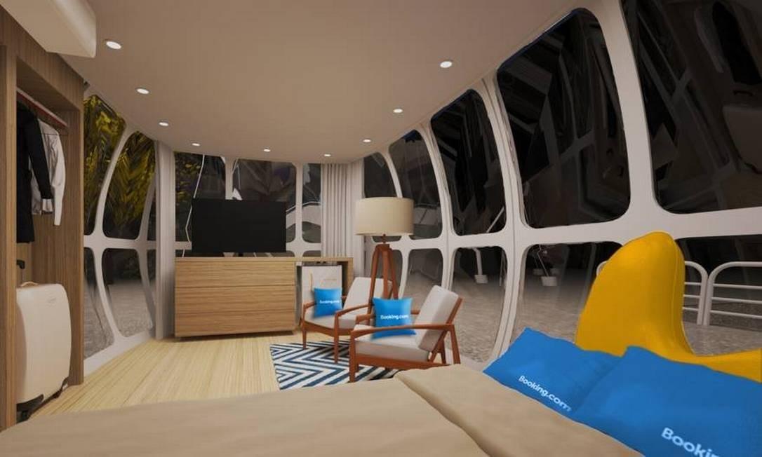 Bondinho contará com cama, cadeiras e até TV, mostra projeção Foto: Booking.com / Divulgação