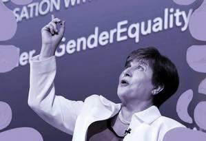 Kristalina Georgieva está no cargo de diretora do FMI há duas semanas e já se posiciona a favor da igualdade de gênero no mercado de trabalho Foto: Arte sobre foto de Olivier Douliery