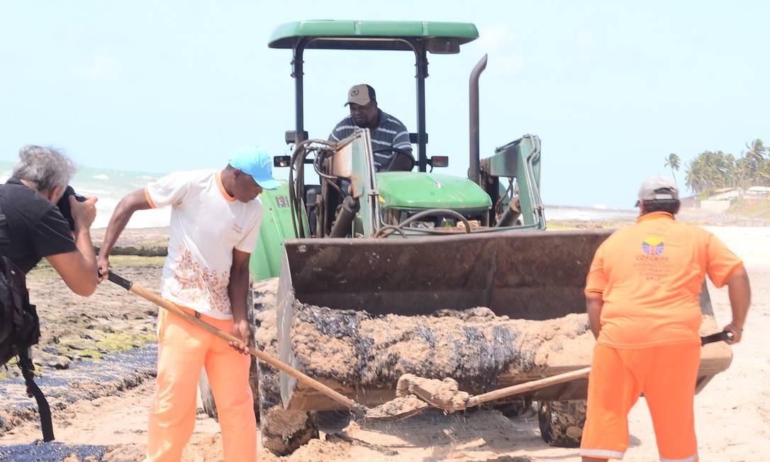 Retirada de óleo na praia Lagoa do Pau em Coruripe, Alagoas Foto: Genival Paparazzi/Parceiro / Agência O Globo
