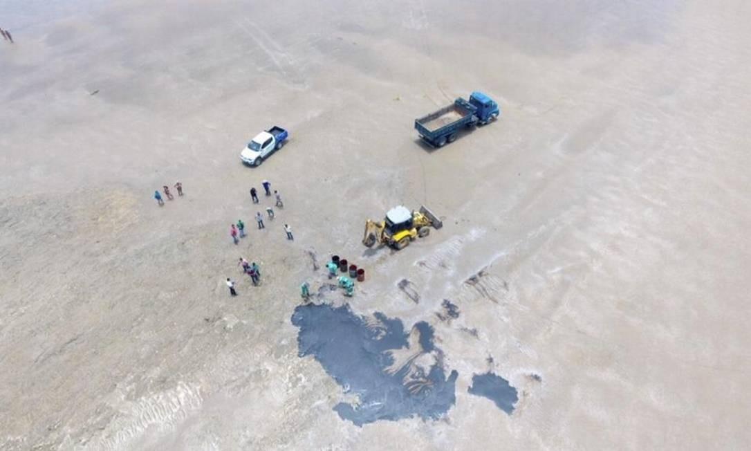 Um trator é usado para recolher o óleo na praia de Japaratinga, litoral norte do estado Foto: Divulgação