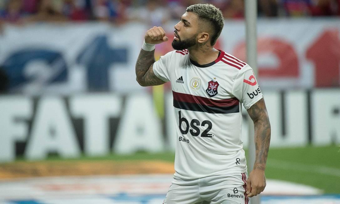 Gabigol celebra o gol de pênalti contra o Fortaleza Foto: Alexandre Vidal/Flamengo