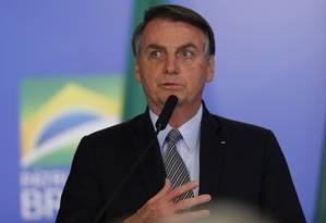 Presidente Jair Bolsonaro participa de cerimônia oficial no Palácio do Planalto Foto: Jorge William / Agência O Globo