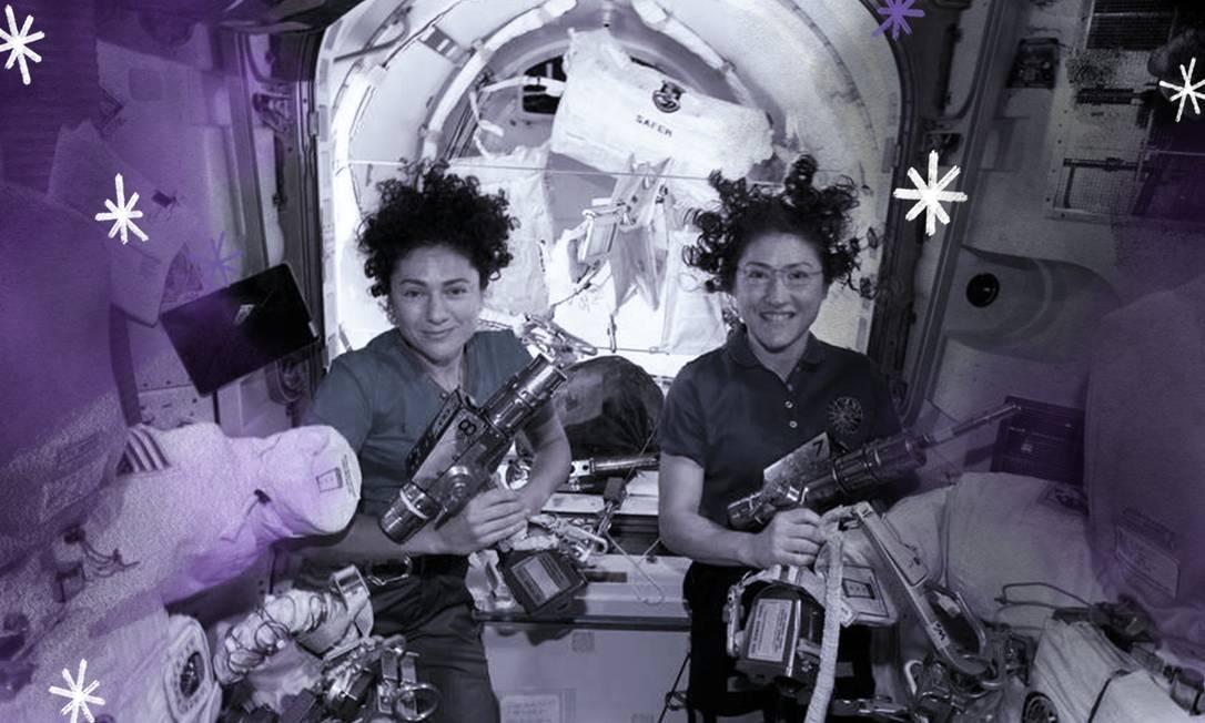 Jessica Meir (à esquerda) e Christina Koch, no interior da Estação Espacial Internacional Foto: Arte sobre foto da Nasa